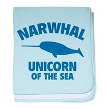 Narwhale Unicorn of the Sea baby blanket