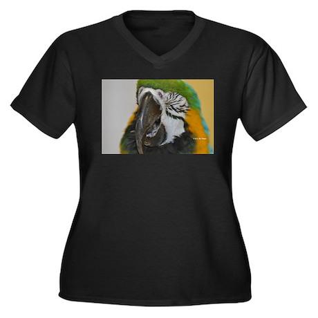 Laughing Parrot Women's Plus Size V-Neck Dark T-Sh