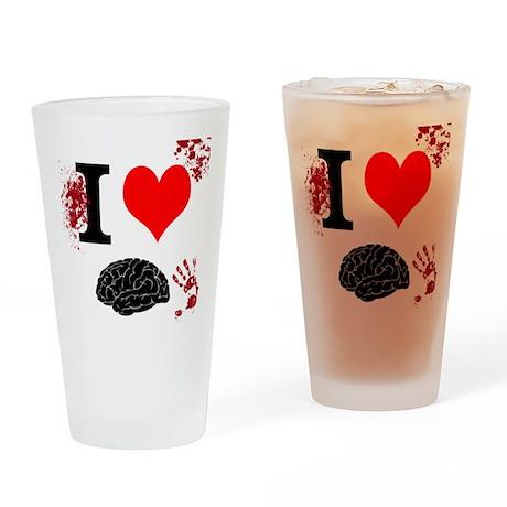 I Heart Brains Drinking Glass