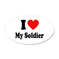 I Heart My Soldier: Oval Car Magnet