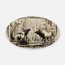 Bull elk face off Oval Car Magnet