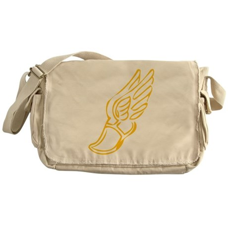 Golden Running Shoe Messenger Bag