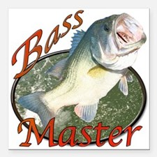 "Bass master Square Car Magnet 3"" x 3"""
