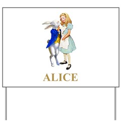 Alice and the White Rabbit Yard Sign