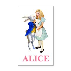 Alice and the White Rabbit Rectangle Car Magnet