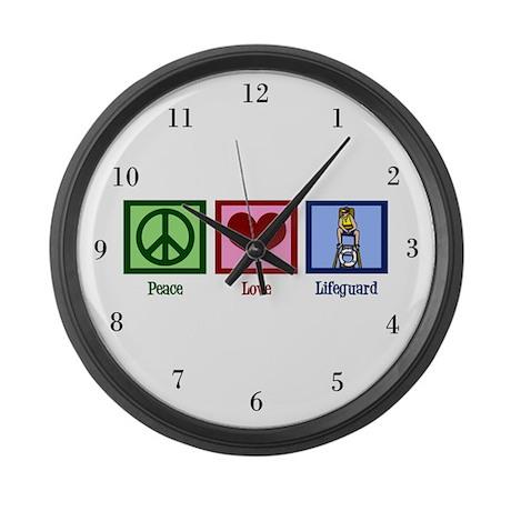 Peace Love Lifeguard Large Wall Clock