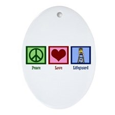 Peace Love Lifeguard Ornament (Oval)