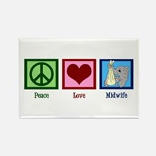 Peace Love Midwife Rectangle Magnet