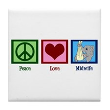 Peace Love Midwife Tile Coaster