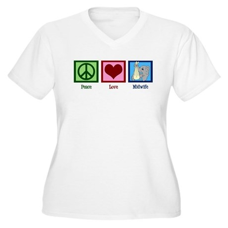 Peace Love Midwife Women's Plus Size V-Neck T-Shir