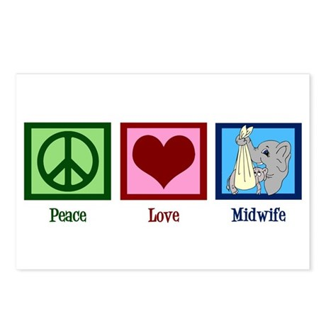Peace Love Midwife Postcards (Package of 8)