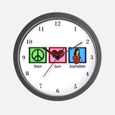Peace Love Journalism Wall Clock