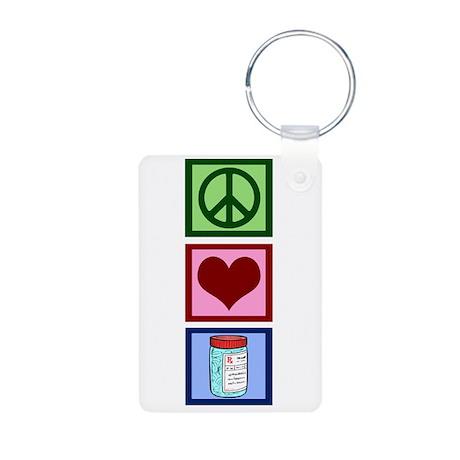 Peace Love Pharmacist Aluminum Photo Keychain