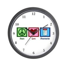 Peace Love Pharmacist Wall Clock