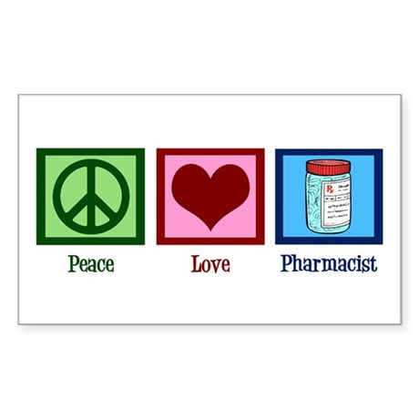 Peace Love Pharmacist Sticker (Rectangle)