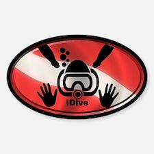 idive flag 3x5 Sticker (Oval)