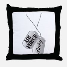 Air Force Baby Dog Tags Throw Pillow