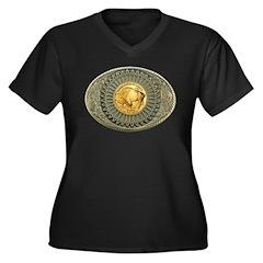 Indian gold oval 2 Women's Plus Size V-Neck Dark T