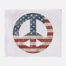 Vintage Peace In America Throw Blanket
