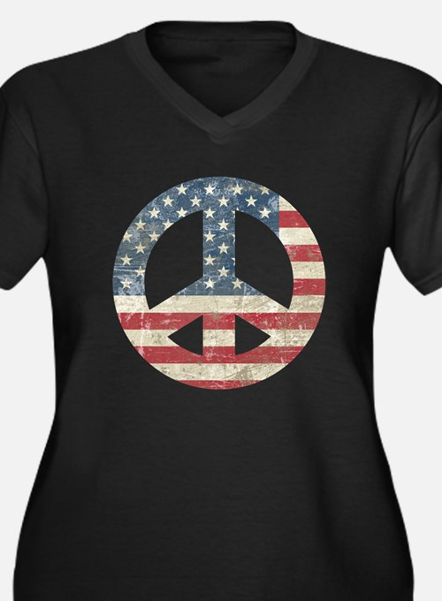 Vintage Peace In America Women's Plus Size V-Neck