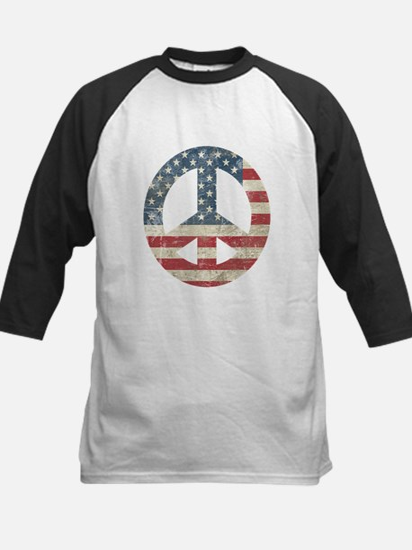 Vintage Peace In America Kids Baseball Jersey
