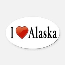 I Love Alaska Oval Car Magnet