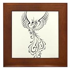 black-phoenix-bird.png Framed Tile