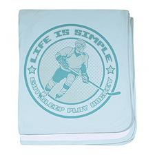 Eat, Sleep, Play Hockey baby blanket