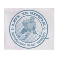 Eat, Sleep, Play Hockey Throw Blanket