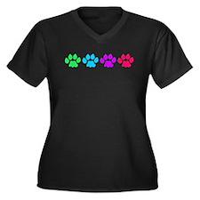 Rainbow Colored Paws Women's Plus Size V-Neck Dark