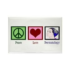 Peace Love Dermatology Rectangle Magnet