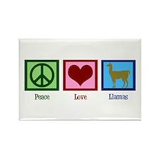 Peace Love Llamas Rectangle Magnet
