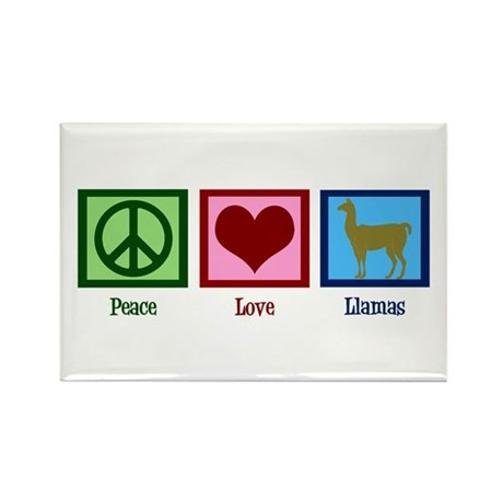 Peace Love Llamas Rectangle Magnet