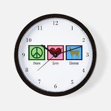 Peace Love Llamas Wall Clock
