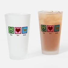 Peace Love Llamas Drinking Glass