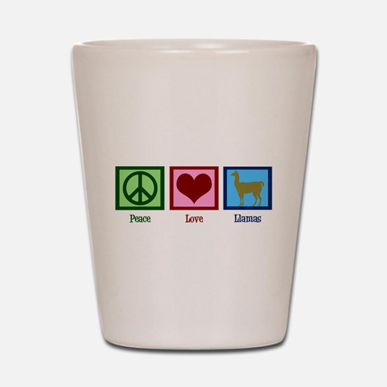 Peace Love Llamas Shot Glass