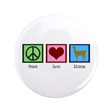 "Peace Love Llamas 3.5"" Button"
