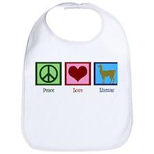Peace Love Llamas Bib