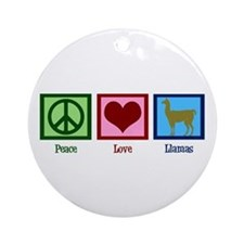 Peace Love Llamas Ornament (Round)