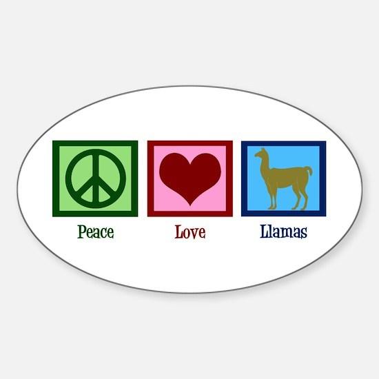 Peace Love Llamas Sticker (Oval)