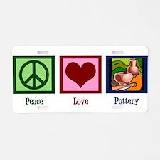 Peace Love Pottery Aluminum License Plate