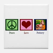 Peace Love Pottery Tile Coaster