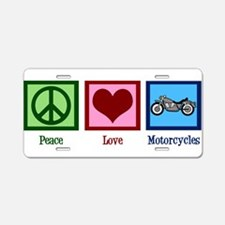 Peace Love Motorcycles Aluminum License Plate