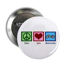 """Peace Love Motorcycles 2.25"""" Button"""
