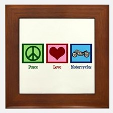 Peace Love Motorcycles Framed Tile