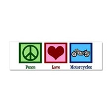 Peace Love Motorcycles Car Magnet 10 x 3
