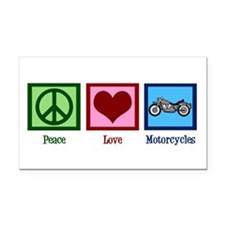 Peace Love Motorcycles Rectangle Car Magnet