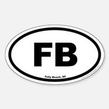 Folly Beach South Carolina EURO Oval Decal