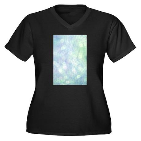 Blue Bokeh Women's Plus Size V-Neck Dark T-Shirt