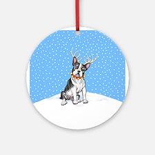 Boston Terrier Reindeer Ornament (Round)